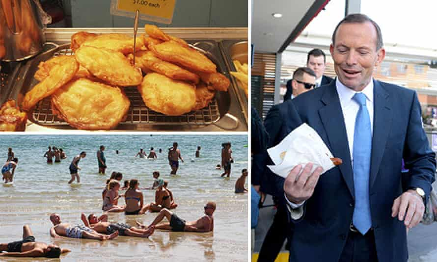 Potato scallops (or cakes), former Prime Minister Tony Abbott holding a sausage sandwich (or sausage in bread) and people at the beach wearing swimmers (or cossies or togs)