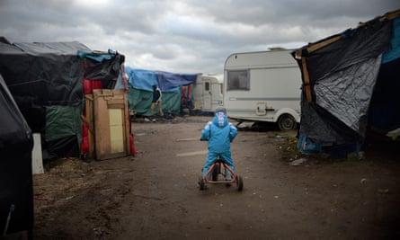 A child in the Jungle refugee camp in Calais.