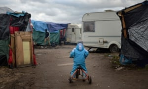 A child in the refugee camp in Calais in February.