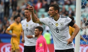 Leon Goretzka celebrates after scoring Germany's third.