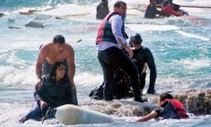 Antonis Deligiorgis rescues Wegasi Nebiat from the Aegean Sea on 20 April.