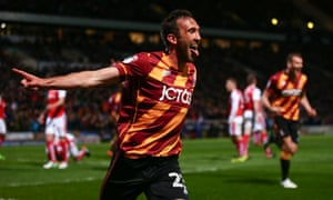 Rory McArdle celebrates giving Bradford their second-half breakthrough against Fleetwood.