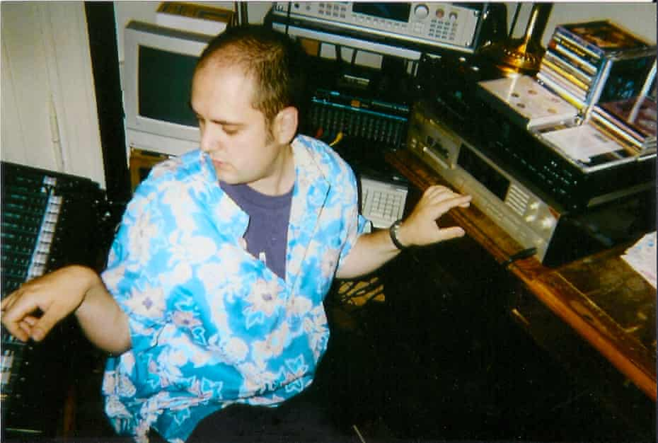 Tim Mohr in the studio of Micha Kobs, former guitar player in East German punk band Planlos.