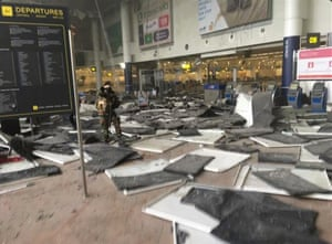 Scene at Brussels airport after the explosion