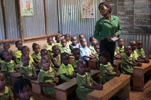 A class at a Bridge primary school in Mpigi, Uganda.