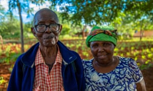 Mwamkono Mwavaka and his wife in their garden in Kenya. His grandfather, who died in the first world war, has no known grave