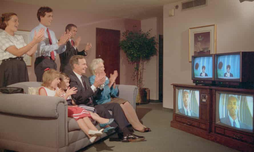 George and Barbara Bush and their family watch the Republican convention on TV from their hotel in 1988.