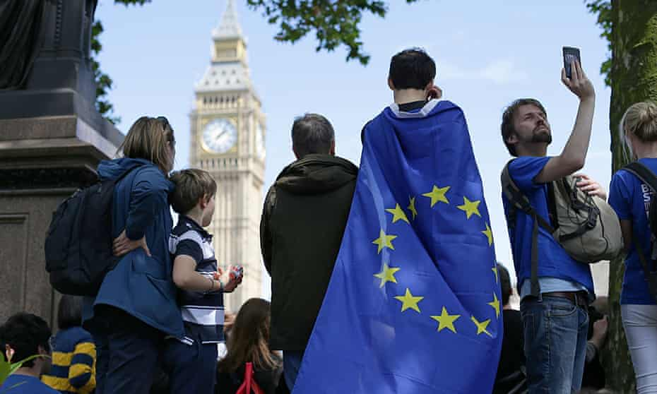 People taking part in a Europe rally in parliament square