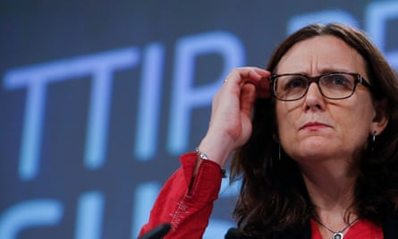 Cecilia Malmström, the European commissioner for trade, speaks about the EU proposal on sustainable development at the TTIP negotiations in Brussels.