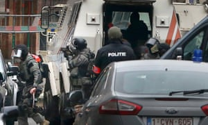 Police at the scene of a security operation in the Brussels district of Molenbeek.