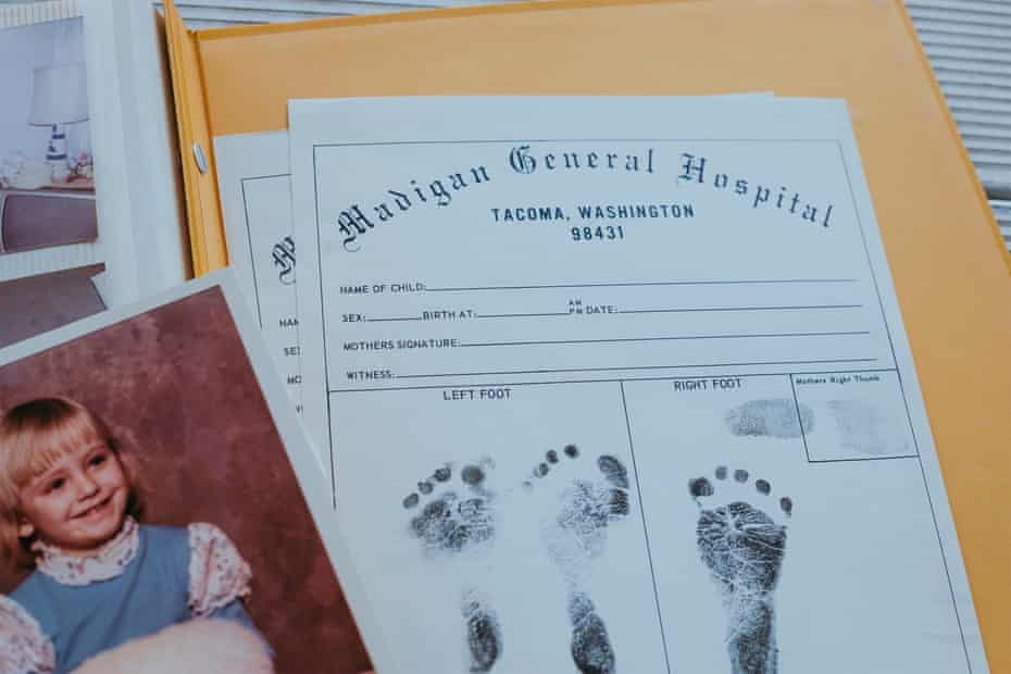 Struck shows her daughter Tanya Marie's birth certificate alongside a photo of when Tanya turned five in 1975.