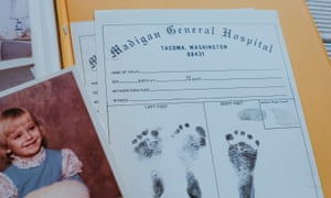 Susan Struck, 75, shows her daughter Tanya Marie's birth certificate alongside a photo of when Tanya turned five in 1975.