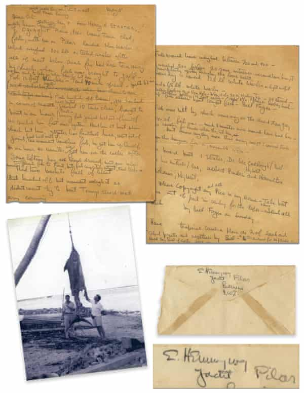 Hemingway's two-page letter to the editor, with a photograph of the 1935 marlin.