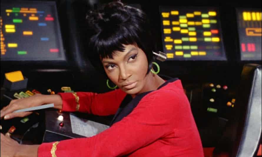On the bridge … Nichelle Nichols as Lt Uhura in the first Star Trek series, 1967.