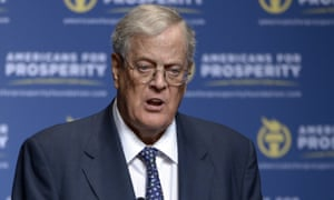 David Koch speaking in Orlando, Florida, in 2013.