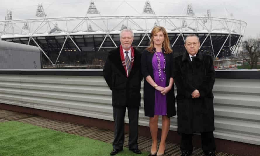 David Gold, Karren Brady and David Sullivan outside the unpopular London Stadium