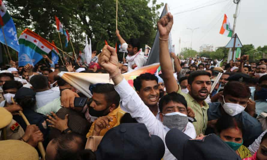 Activists from the opposition Congress party hold an anti-government protest in Jaipur on Thursday over the Pegasus project revelations.