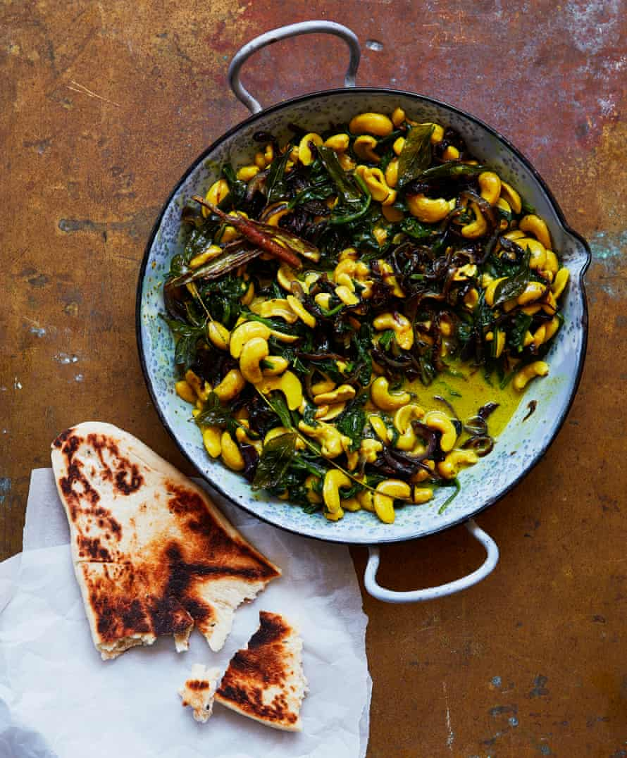 Thomasina Miers' cardamom and black pepper cashew spinach curry.