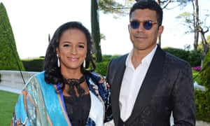 Isabel dos Santos (left) with her husband, Sindika Dokolo, in Cannes in 2018