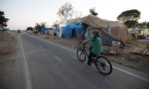 The Santa Ana River bike trail homeless encampment.