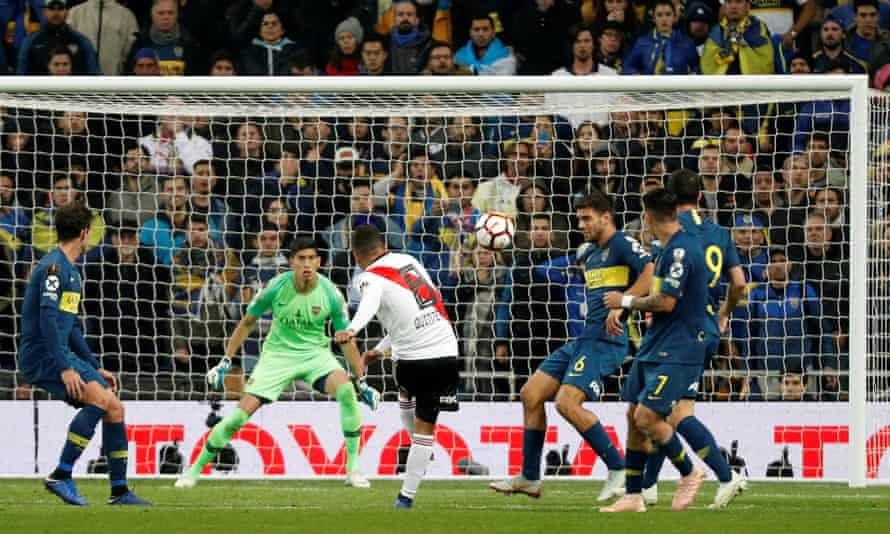 Juan Quintero lets fly from 20 yards for the River Plate goal that beat Boca Juniors in the second leg of the Copa Libertadores final in Madrid.
