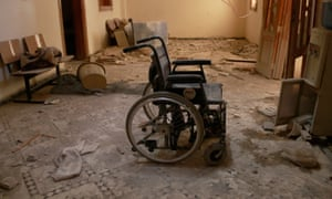 A wheelchair inside Sahra Hospital, Aleppo, after a bomb strike by Syrian regime forces earlier this month.