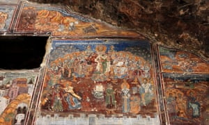 Byzantine frescoes on the exterior walls of the main church (a 'cavechurch') of Sumela monastery.