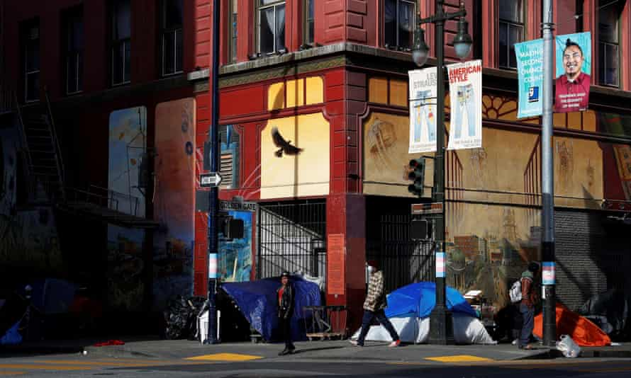 The tents set up by homeless people in the Tenderloin district of San Francisco.