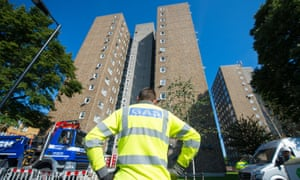 Gas engineers at work outside Ledbury Towers, south London, where residents are facing evacuation amid safety concerns.