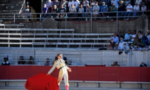 French matador Adrien Salenc gestures on the opening day of the Arles Feria.