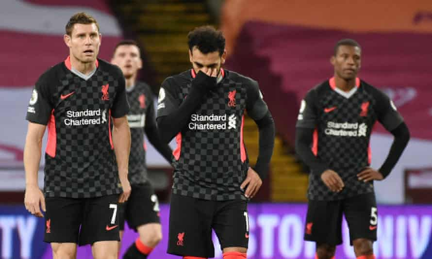 Liverpool's players look dismayed as they slip to a 7-2 defeat against Villa