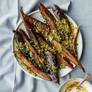 Anna Jones' aubergine wedges with lime and pistachio crumb
