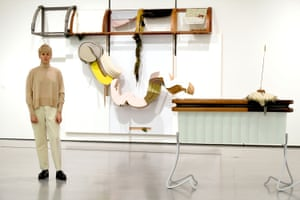 Helen Marten, winner of the inaugural Hepworth prize for sculpture, with her work at The Hepworth Wakefield gallery in West Yorkshire.