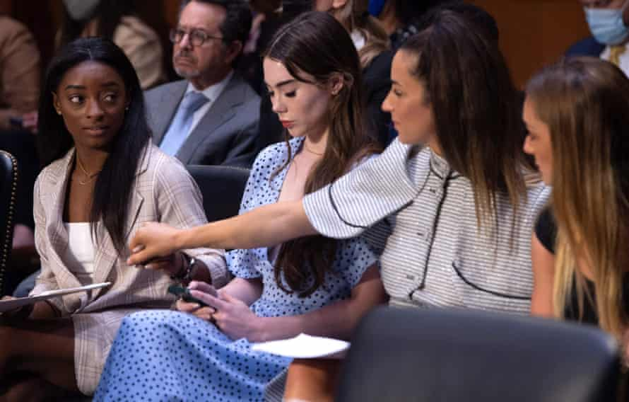 From left, US Olympic gymnasts Simone Biles, McKayla Maroney, Aly Raisman and Maggie Nichols, arrive to testify during a Senate judiciary hearing.