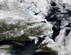 A satellite view of the coast of Newfoundland and the estuary of river St Laurent