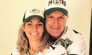 With my wife, Lordy, in our beloved Green Bay Packers NFL football team jerseys