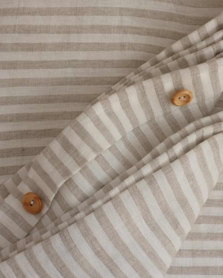 Sleep of the just: natural striped linen duvet cover, £185