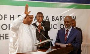 Adama Barrow being sworn in