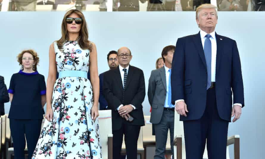 Melania and Donald Trump attend the annual Bastille Day military parade in Paris on 14 July 2017.