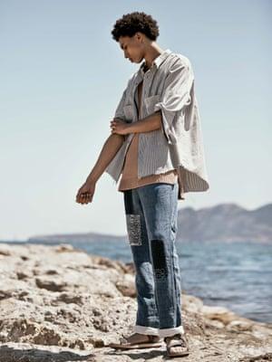 Stripe frayed shirt, £255, cloh.co.uk. Knitted vest, £250, Ex Infinitas, brownsfashion.com. Trousers, £695, loewe.com. Sandals, £50, teva.co.uk