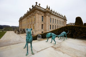 Bronze sculptures of greyhounds in the grounds of the house