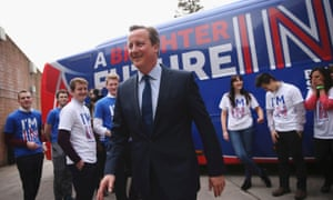 The prime minister joins students at the launch of the 'Brighter Future In' campaign bus at Exeter University