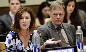 Cindy and Fred Warmbier speak at the United Nations headquarters.