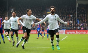 Mohamed Salah celebrates scoring Liverpool's winner as they came from behind to beat Crystal Palace 2-1 at Selhurst Park