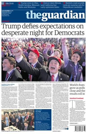 Newspaper Front Pages Cover Trumps Victory In Pictures US - Us election 2016 map the guardian