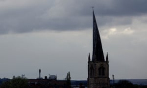 CHESTERFIELD, famous for the twisted spire on the church.