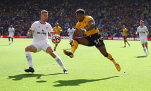 Adama Traoré takes on the Bees' defence.