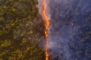 Bushfire by Robert Irwin, showing a fire line leaving a trail of destruction through woodland near the border of the Steve Irwin Wildlife Reserve in Cape York, Queensland, Australia.