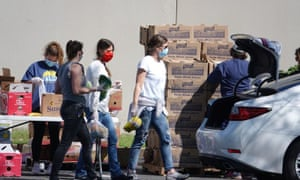 Lining up for food donations in Memphis, Tennessee, in April.