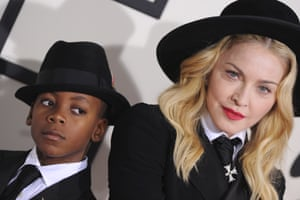 2014: Madonna and son David Banda Mwale Ciccone Ritchie the 56th Grammy Awards